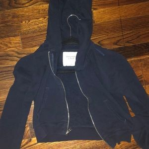 Abercrombie navy blue xs cropped hooded zip up